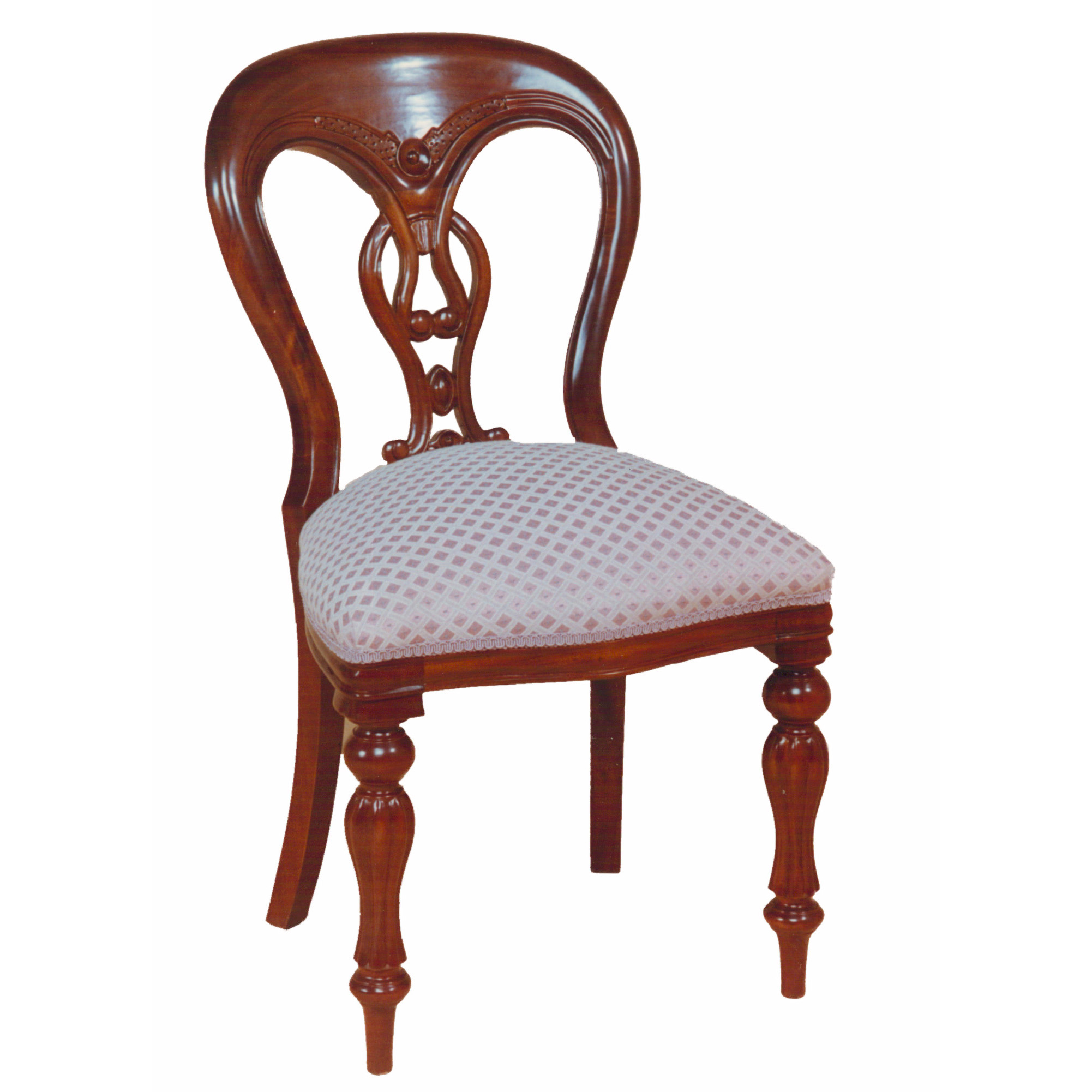 Reproduction balloon back dining chairs, fiddleback style.