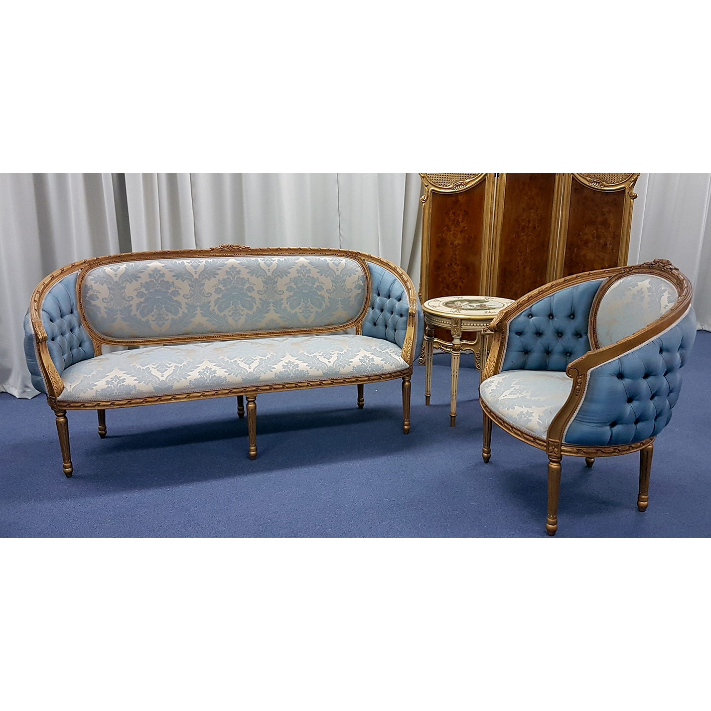 Astounding French Sofa And Matching Chairs In Gold Leaf Gmtry Best Dining Table And Chair Ideas Images Gmtryco
